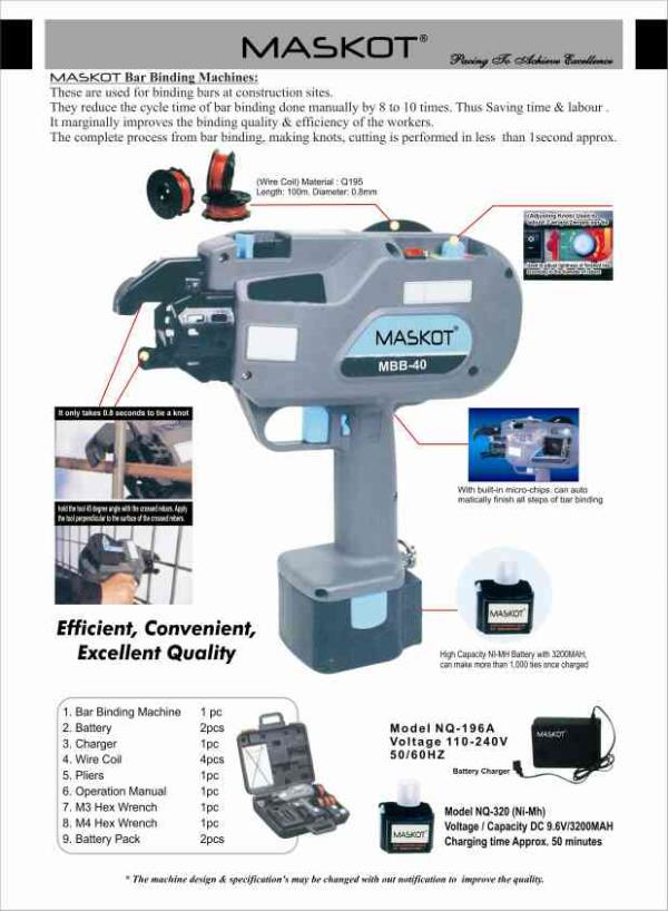 ade easy for Construction companies with the latest Innovation in Rebar Tying .MASKOT Rebar Tying Machines