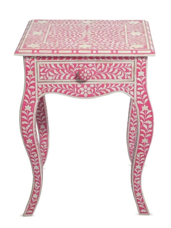 Bone Inlay Night Stand  Size - 60 x 43 x 30 CM Colour - Pink - by Miclandts, Udaipur