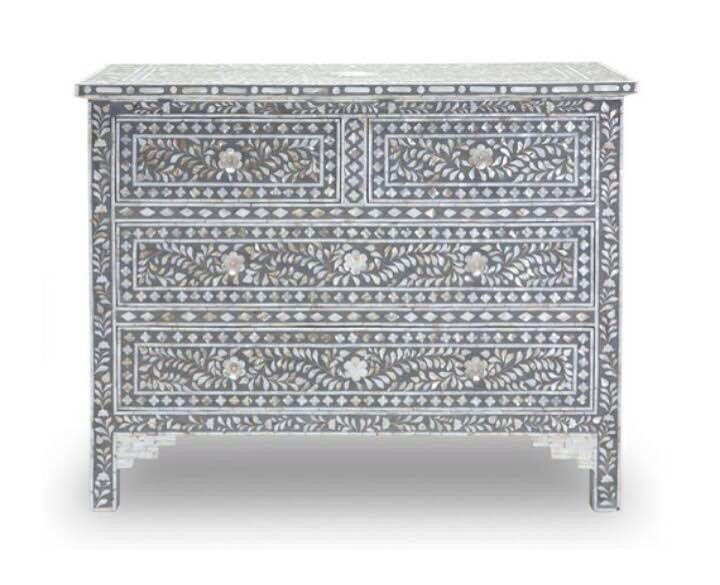 Mother Of Pearl Inlay Chest Of Drawer Size - 105 x 75 x 45 CM Colour - Gray A Product By Miclandts  - by Miclandts, Udaipur