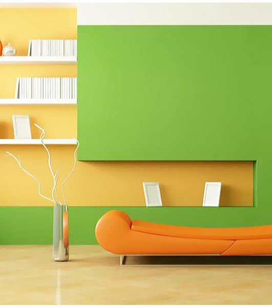 Choose a zesty lime shade for your walls and pair it with this #fun and vibrant orange. - by Quality Paints, Pune