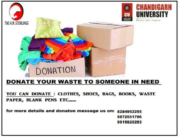 donation for poor in Chandigarh university campus.. donate your unused goods to someone in need