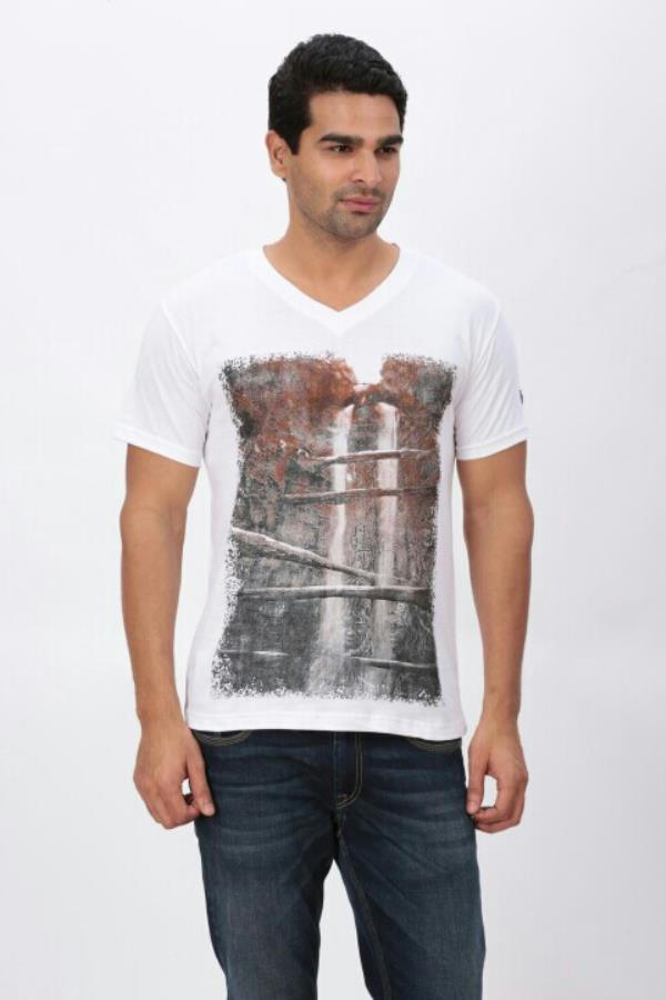 Photo Printed V Neck T Shirt