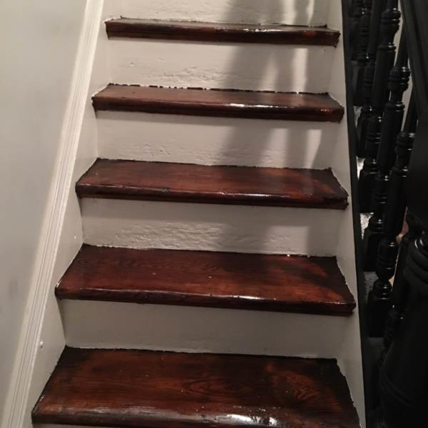 Finishing wood steps  - by ML Ullah Construction Co., Kings County