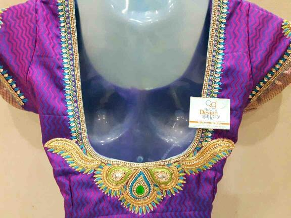 embroidery kanchi pattu blouse with beautiful color combination - by Queenz Design Gallery, Visakhapatnam