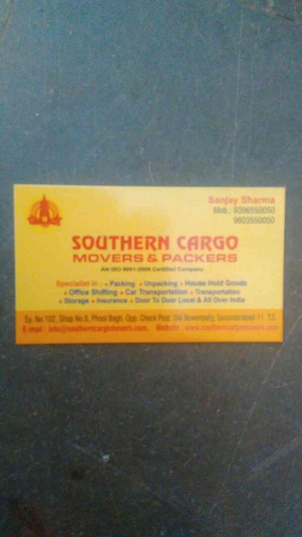 we are top packers and movers in Hyderabad - by Southern Cargo Movers And Packers, Ahmedabad