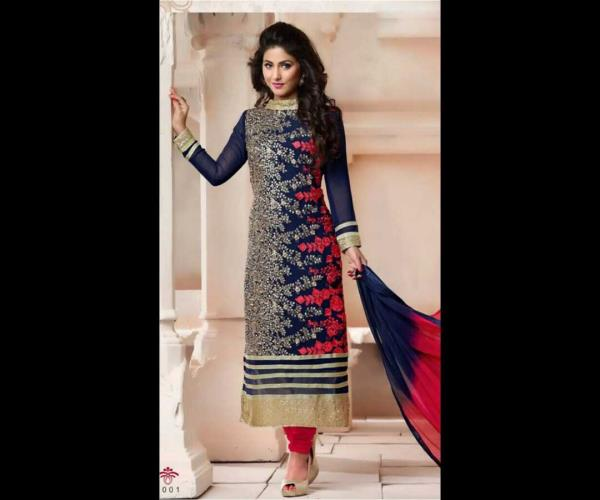 Designer blue suit Embroidery silver and red Georgette fabric Shantoon bottom Chiffon duppatta Rs.1450 - by Enamor Creation, Delhi