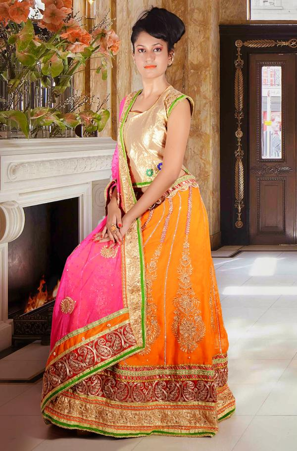 """Celebrate this festive season in designer ethnic wear. We have salwar suits, ghagra cholis and kids wear. Colour of this season is orange.""  Cost : @15000/- - by Ceremonie, Odisha"