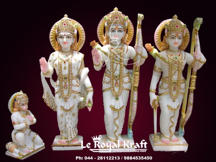Marble Ramdarbar Statue manufacturers, Marble Ramdarbar Statue Supplier in chennai, Marble Ramfamily Statue Manufacturers, - by Le Royal Kraft, Chennai