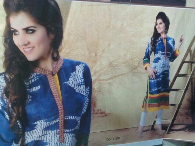 exlusive cotton kurti with embroidery and  side lattcan  - by Gurukrupa Collection , Mumbai