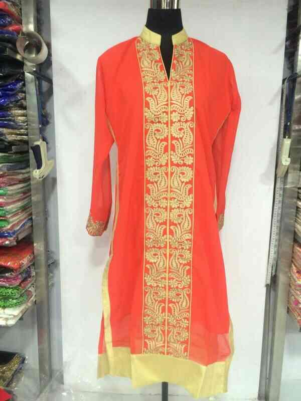 heavy gorget kurti with golden embroidery  - by Gurukrupa Collection , Mumbai
