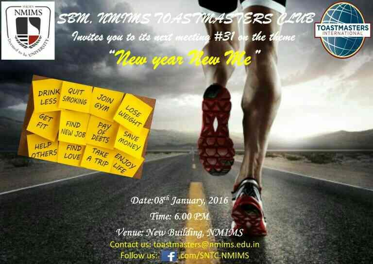 Meeting #31 Friday - 6PM NMIMS New Building - by SBM, NMIMS Toastmasters Club - SNTC, Mumbai