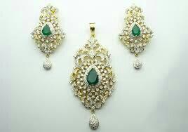 diamond pendant set with latest design - by Shri Narayana Pearls And Jewellery, Hyderabad