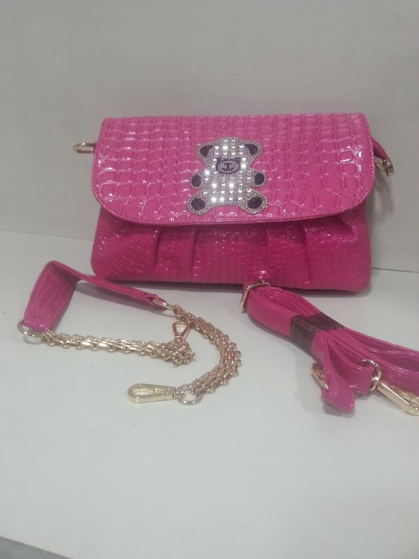 New arrival Ladies Sling cum Clutch Bag Pink colour with Broch two partican with Long and Short Chain Belt - by Mumbai Ladies Bags, Mumbai