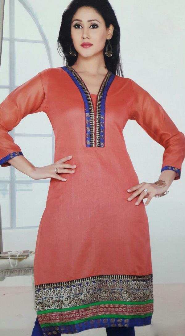Fancy Chanderi Silk Kurti - by Gurukrupa Collection, Mumbai