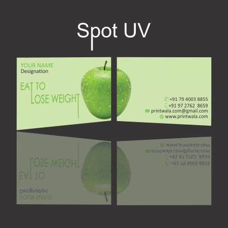 Spot highlight through UV Coating is applied on the surface of your business card / visiting card and it will create a clear shiny layer on your design on the top of your vector artwork.This allows direct attention to the important aspects  - by Printwala.com, Ahmedabad