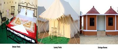 Accommodation :  Deluxe Tents Luxury Tents Cottage Rooms     - by Oasis Camp Sam Resort, Jaisalmer