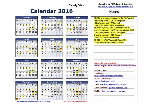 P K Jaiswal & Associate Statutory Calendar 01-Jan-2016 to 31-Dec-2016 - by P K JAISWAL & ASSOCIATE, MUMBAI