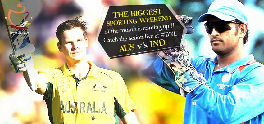 India are at Australia to play the Kangaroos Down Under once again!! Get ready to enjoy the match on screen while munching your favorite food! Aus v/s India ODI Cricket, 17th January at 8.50am onwards  ‪#‎BeansNLeaves‬ ‪#‎SpectatorsThrill‬  - by Beans And Leaves, Ahmedabad