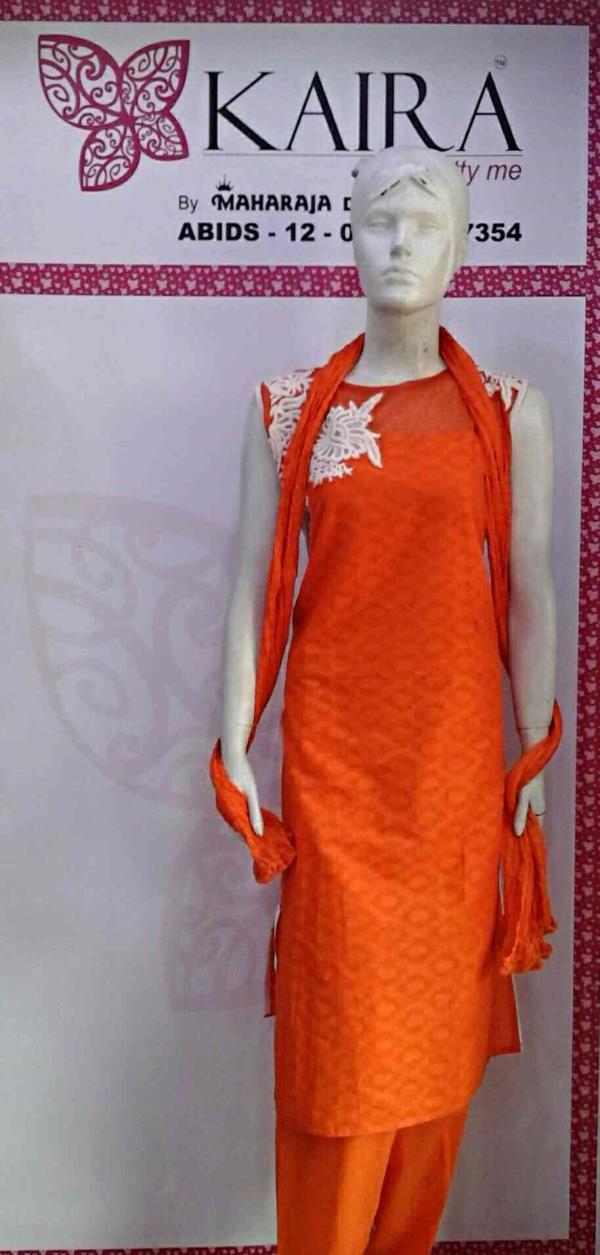 KURTI ( long cotton kurti jacquard  pattern )  orange, green, black, pink  M & L & XL & XXL  MRP = 870 / -  - by Kaira abids , Hyderabad