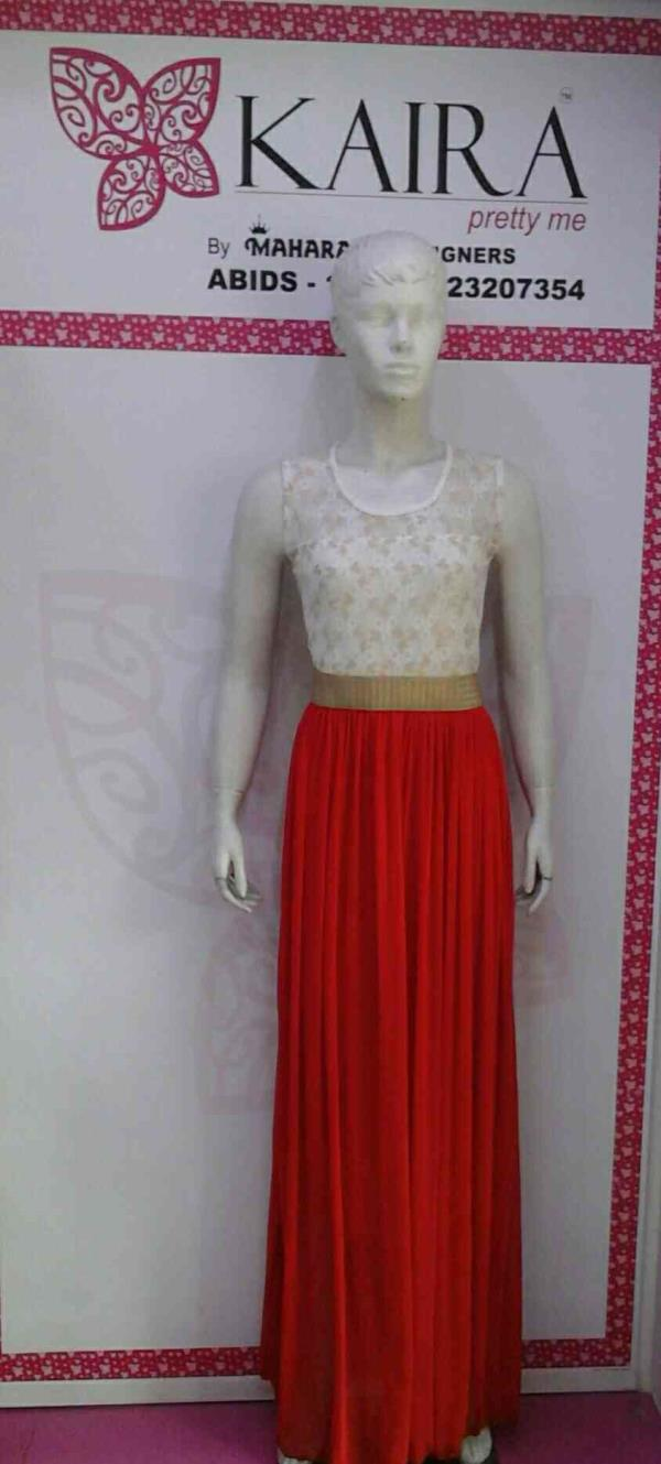WESTERN ( ONE PIECE LONG MIDDI )  COLORS : RED, WHITE, PEACH, BLACK  SIZE :- FREE SIZE :-  MRP :- 1150/-  - by Kaira abids , Hyderabad