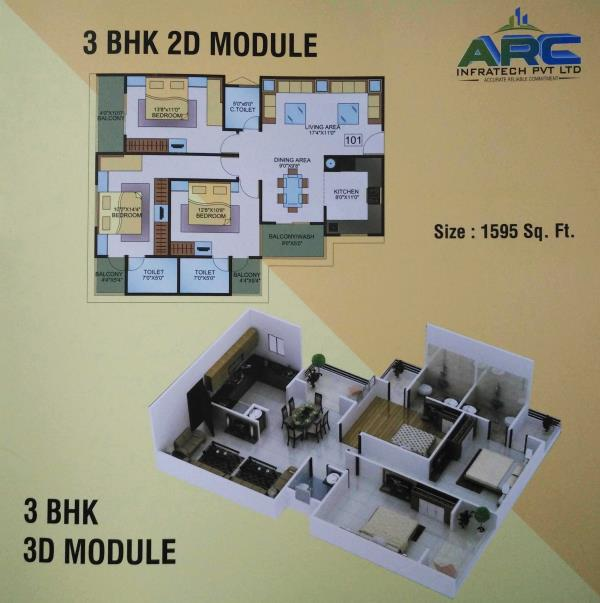 3 BHK 3D Module flat in Indore  1595 Sq. Ft. - by Dehalvi Infrastructure, Indore