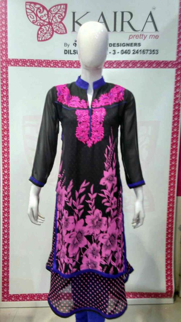 fancy kurti  Size :- M, L, XL.  colours :- pink, yellow, rama green.  mrp :- 1310. - by KAIRA Dilsukhnagar, Hyderabad