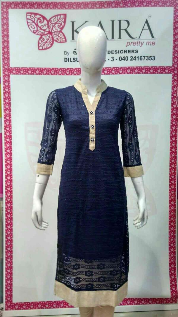 netted kurti  Size :- L, XL  colour :- black, red, cream.  mrp :- 1260. - by KAIRA Dilsukhnagar, Hyderabad