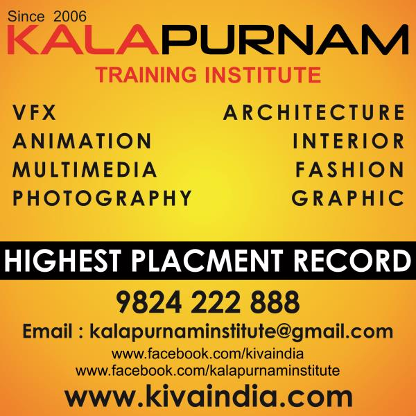 Kalapurnam institute is well known for its job placement assistance. We make sure that each and every students of our training institute either get the job or become enterprenure which is easy for this kind of advanced computer software based learning field i. e. Animation , Visual effects, Multimedia, Graphic Design , Architecture Design, Interior Design, Fashion Design and Photography.