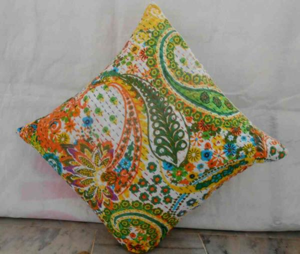 "shivatextiles presenting a new  design with ""kantha"" work called Paisley print cushion cover. standard size 16*16. available in different colors. - by Shiva Cloth Stores, Ajmer"