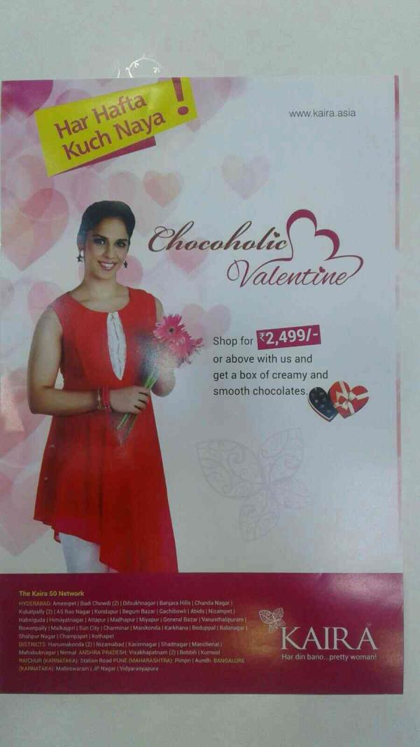 Kaira brings you a Chocoholic Valentine! Buy for INR 2499 & get a lush chocobox Free! Offer open 12-14 Feb only. Hurry...gift her a Kaira and show her you care! from    kaira nizampet  - by Kaira Nizampet , Hyderabad