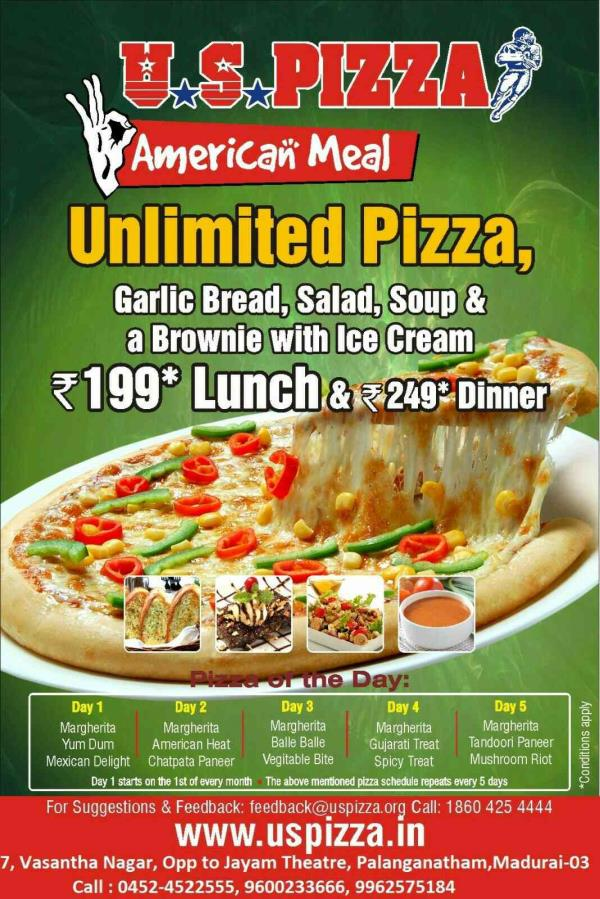 We are the Best Pizza Shop In Madurai - by U S PIZZA, Madurai