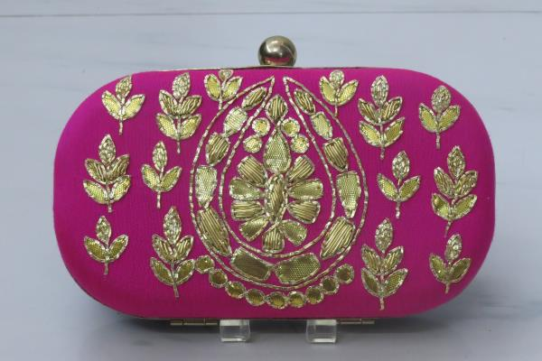 Beautiful Pink Gottapati work Box Clutch with Royal Blue on the other side