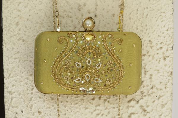 ALL GOLD COLLECTION!   Gorgeous golden box clutch with zardosi and pearl work..