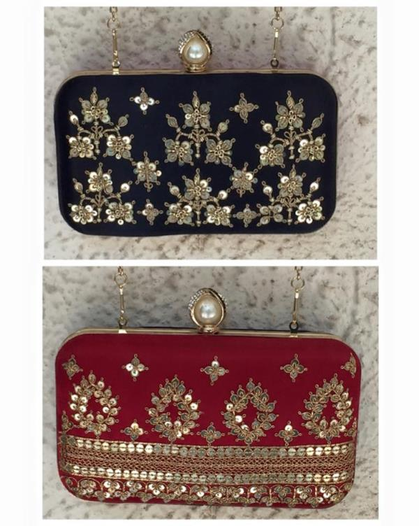 Beautiful Marodi work Box Clutch with a pearl and diamond knob! ❤ Side one:- Marodi work in Black Side two:- Marodi work in Maroon