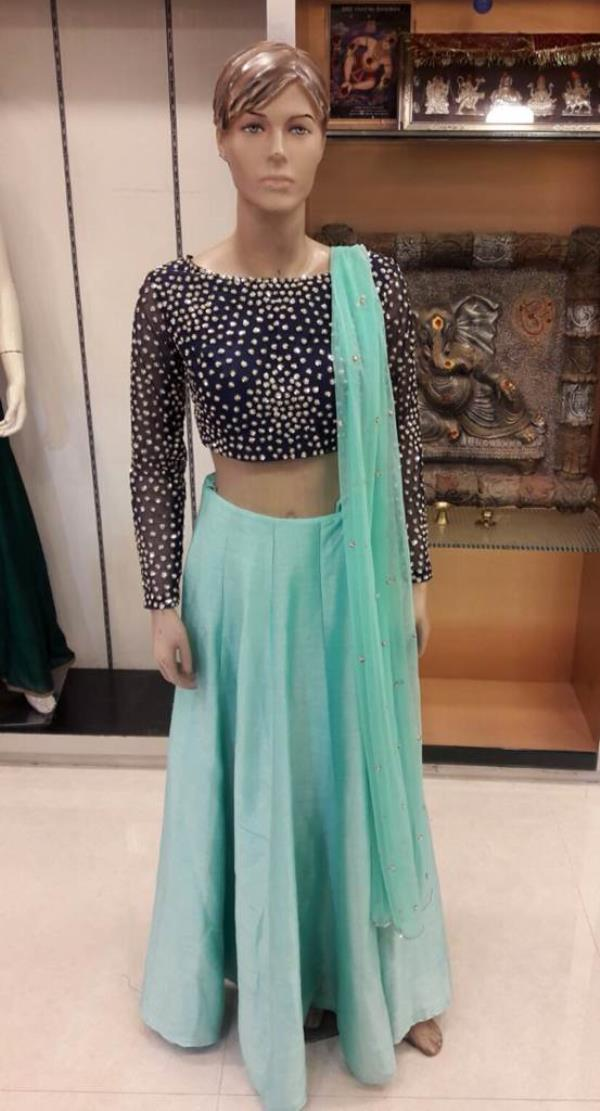 Get the latest trendy Crop top Skirts @Kanyaa Rajsons , designer wear showroom .  - by Kanyaa Rajsons, Hyderabad