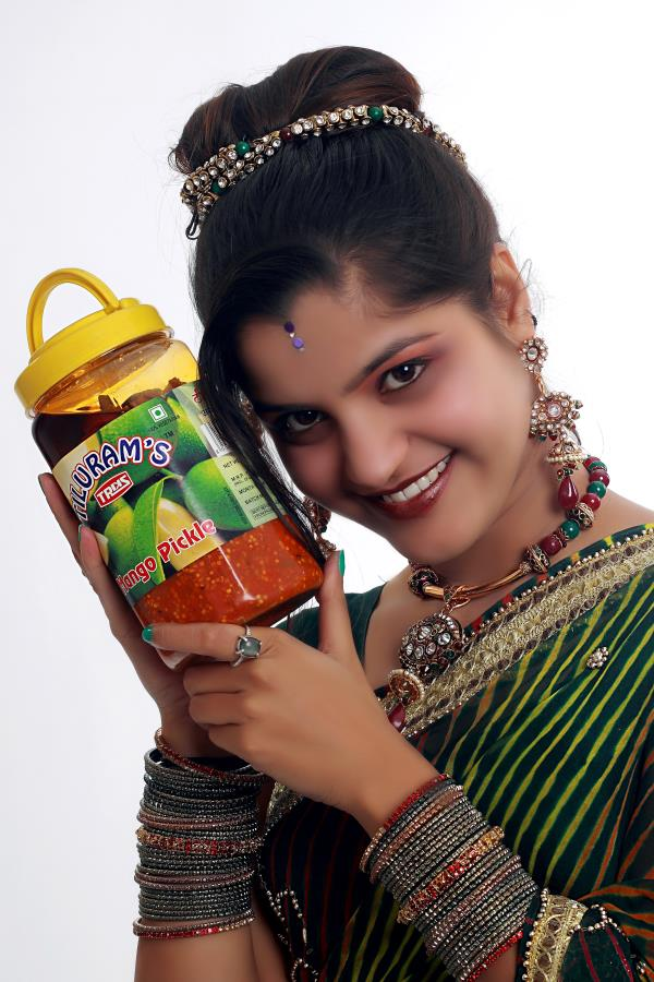 Lemon pickles Mango pickles Garlic pickle Ginger pickles Methi (fenugreek) pickles Karela (bitter melon) pickles Mixed pickle Chili pickles Sweet pickles Amla pickles Jams Fruit crush Vinegar Ketchups Sharbat Pastas  Sauces Papad Apple mura - by Tiluram and Sons, Udaipur
