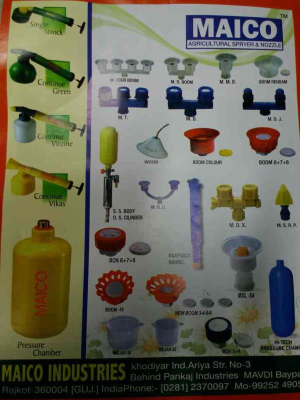 Agriculture Spryer & Nozzle Manufacturers in Rajkot-Gujarat - by Maico Industries, Rajkot