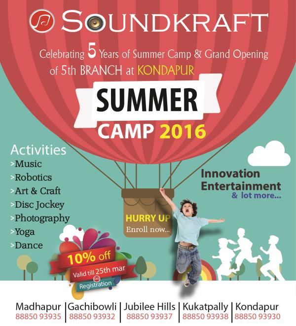 Celebrating 5 Years of Summer Camp & Grand Opening of 5th BRANCH at KONDAPUR .  The most colorful memories are made in childhood. let your child celebrate this summer @ Soundkraft.   Admissions open.  Contact :8885093930 - by SOUNDKRAFT Studioz, Hyderabad