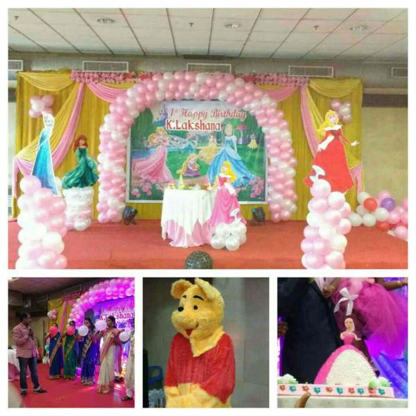 Barbie Theme Stage  + Photography+ Games Hoster + Audio & Lights + Mickey Cartoon Character + Return Gifts. For price details contact +91 9791031974 Midor Events Entertainments