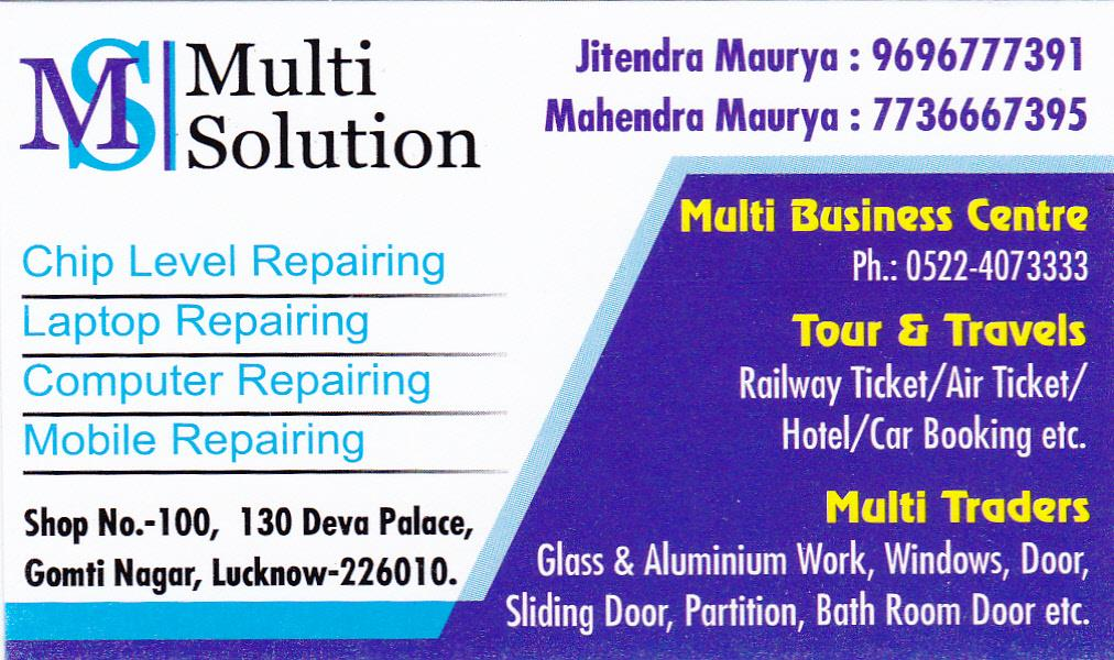 MULTISOLUTION - ONE STOP SOLUTION GET CHEAPEST AIR FARE GRANTED. NO ANY EXTRA CHARGES. NO ANY EXTRA CONVENIENCE FEE. CALL : 9696 777 391 OR 0522 407 3333 AND GET CHEAPEST AIR FARE. DOMESTIC & INTERNATIONAL AIR TICKETING. CALL : 9696 777 391 OR 0522 407 3333