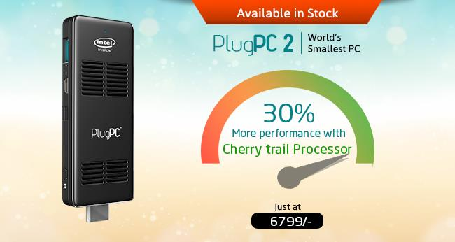 Now Plug PC 2 | Compute Stick ( Intel Cherry Trail Processor ) is in stock  (Stick PC's in Mumbai, Compute Sticks in Mumbai, PC on Sticks in Mumbai)   Much awaiting Model PlugPC 2 is available in stock for purchasing through our own own E Commerce portal www.rdp.online  Plug PC 2 comes with intel Cherry Trail Processors (Atom Quad Core X5 1.84Ghz), 2GB RAM & 32GB Storage Space. This second generation Stick PC is 30% more powerful than its predecessor & comes with USB 3.0 port for better transferring speed..   Initially PlugPC 2 is available with )Windows 10 Operating System) through its online Medium, very soon other models also will be queued in Stock