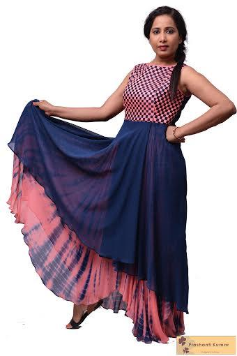 Stylish Tie and Dye layered Blue dress with a hand-woven yoke by Prashanti Kumar. - by Rouge by Prashanti Kumar, Hyderabad