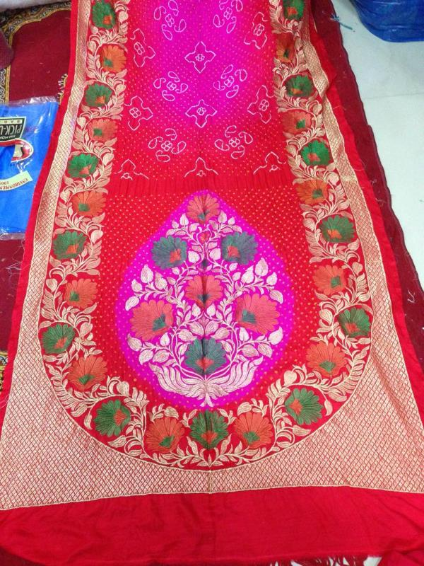 Bandhani gaji silk  saree with computer work