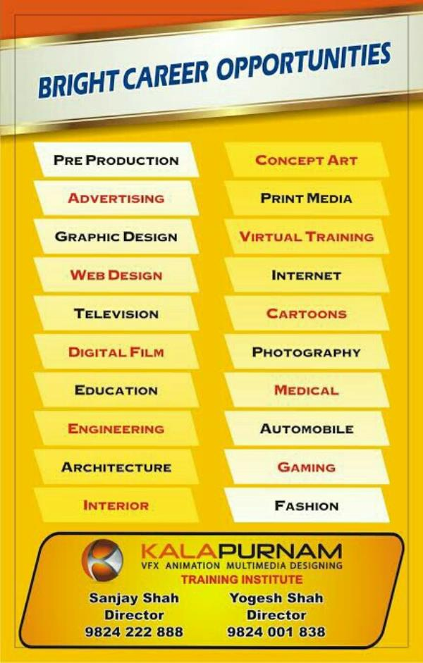 Bright career opportunities exist in the field of art, design and multimedia field. If someone having creativity and visualization power, this can be the most rewarding career.  KalaPurnam Institute of digital design