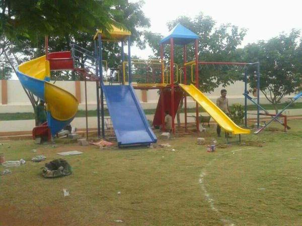 play ground frp fiber equipment manufacturing in Hyderabad  2pillar multi play systems with sprial slide
