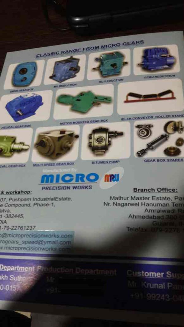 Microgears we manufacture are as follows - by Micro Precision Works, Ahmedabad