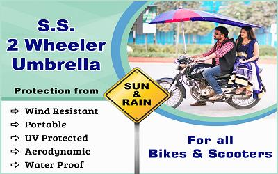 Two Wheeler Umbrella Protection from Sun & Rain  Features: Wind resistant Portable UV Protected Aerodynamic Water Proof  - by S S Marketing, Secunderabad