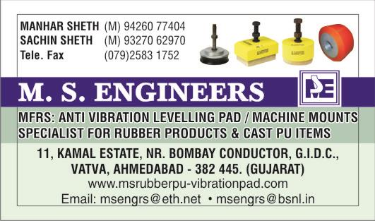 M. S. ENGINEERS - VISITING CARD - by M. S. ENGINEERS, Ahmedabad