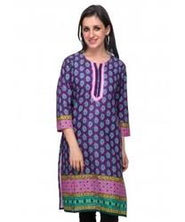 Printed Kurti in Chennai  Being fashion conscious firm, we bring forth modern yet ethnic look with this Ladies Printed Kurti (Purple Printed Kurti) from Diti. The embroidered pattern near the neckline gives a classic touch and the comfortable fabric gives a relaxed feel. Accessorize this kurti with some junk jewelry or funk it up with trendy wooden jewelry. Wear it with strappy sandals or wedges.
