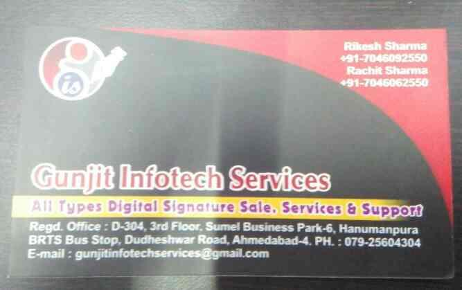 all type of digital signature sale and services provider in Ahmedabad in Gujarat - by Gunjit Infotech services, Ahmedabad